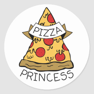 Pizza Princess Classic Round Sticker
