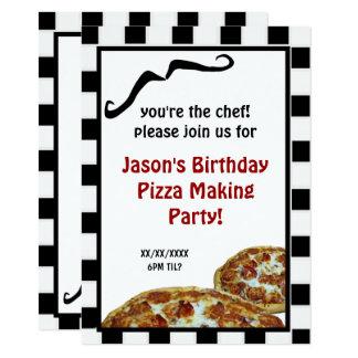 Pizza que hace la invitación de la fiesta de