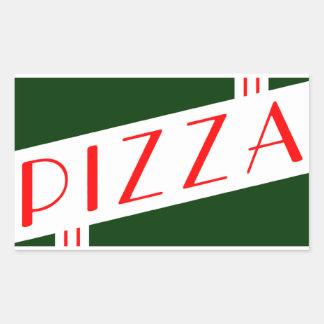 pizza retra rectangular pegatina