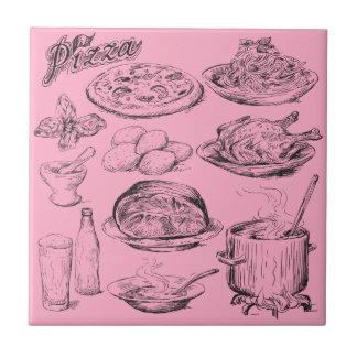 Pizza Sketch Ceramic Tile