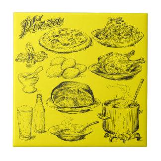 Pizza Sketch Tile