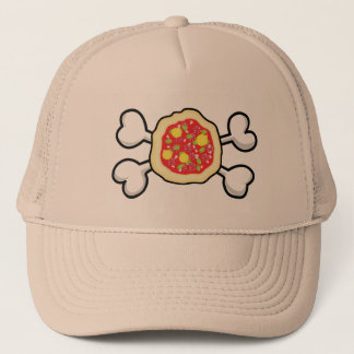 pizza Skull and Crossbones Trucker Hat