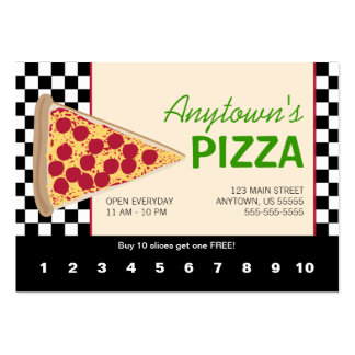 Pizza Slice & Black Checkerboard Pizza Loyalty Large Business Cards (Pack Of 100)