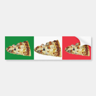 Pizza Slice on Colors of Italian Flag Bumper Stickers