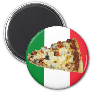 Pizza Slice on Colors of Italian Flag Refrigerator Magnets