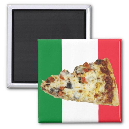 Pizza Slice on Colors of Italian Flag Magnet