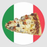 Pizza Slice on Colors of Italian Flag Stickers