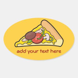 Pizza slice oval sticker