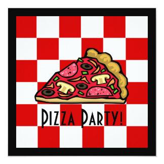 Pizza Slice Pizza Party 5.25x5.25 Square Paper Invitation Card