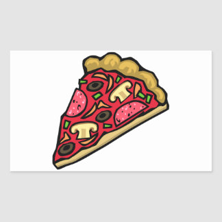 Pizza Slice with Various Toppings Rectangular Sticker