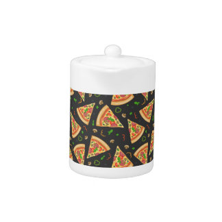 Pizza slices background teapot