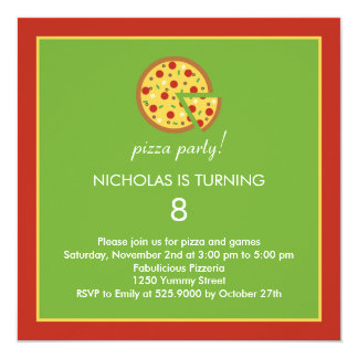 Pizza Slices - Birthday Party Invitation