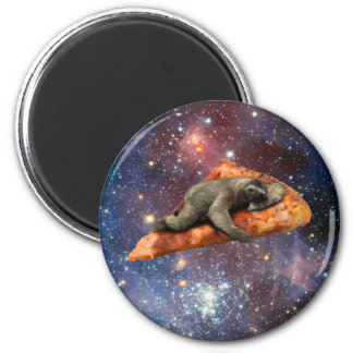 Pizza Sloth In Space 2 Inch Round Magnet