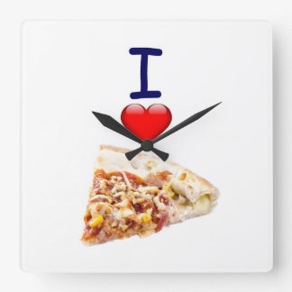 Pizza Square Wall Clock Image