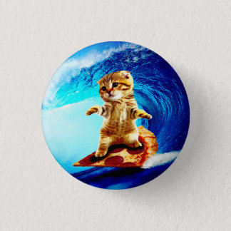 Pizza Surfing Cat Button