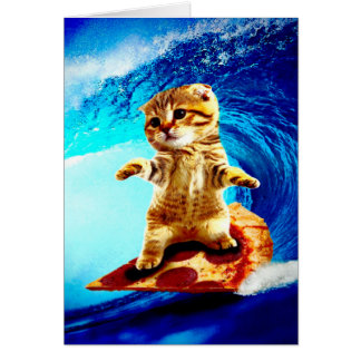 Pizza Surfing Cat Card