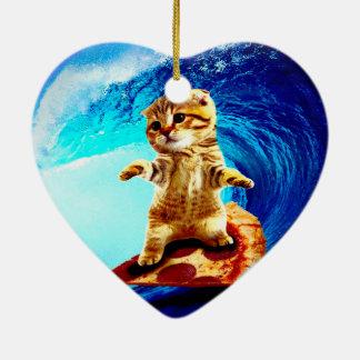 Pizza Surfing Cat Ceramic Ornament