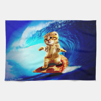 Pizza Surfing Cat Hand Towel