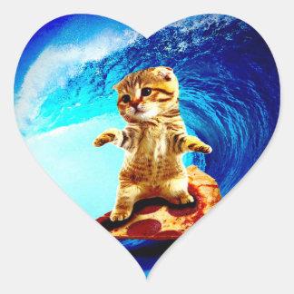 Pizza Surfing Cat Heart Sticker