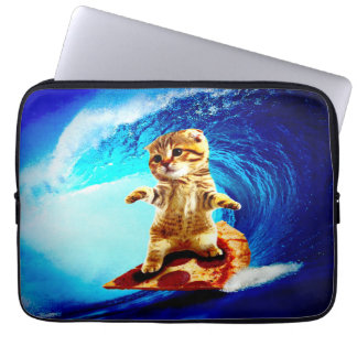 Pizza Surfing Cat Laptop Sleeve