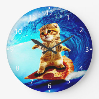 Pizza Surfing Cat Large Clock