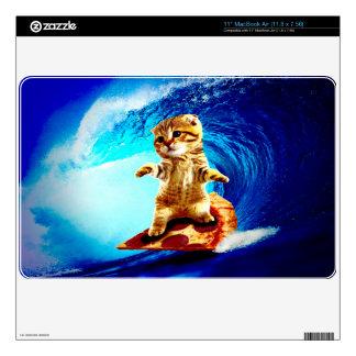 Pizza Surfing Cat MacBook Air Skins