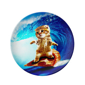 Pizza Surfing Cat Porcelain Plate