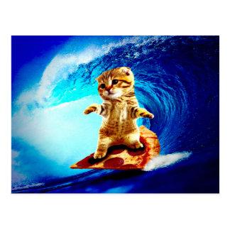 Pizza Surfing Cat Postcard