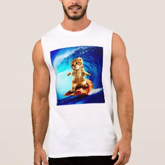 Pizza Surfing Cat Sleeveless T-shirt