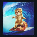 "Pizza Surfing Cat - surf cat - surfcat Bandana<br><div class=""desc"">tabby cat , cute kittens , cute cats , cat memes , funny cats , pet meme pizza orange, surfing surf crazy sitting , domestic art cats cool , kitten feline lolcats painting,  little kittens wave humor , </div>"