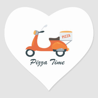 Pizza Time Heart Sticker