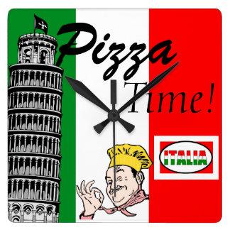 Pizza Time-Italian Square Wall Clock