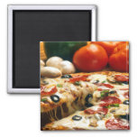 Pizza Tomatoes Mushrooms Olives Cheese 2 Inch Square Magnet