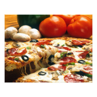 Pizza Tomatoes Mushrooms Olives Cheese Flyer