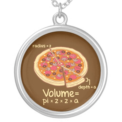 Pizza Volume Mathematical Formula = Pi*z*z*a Jewelry