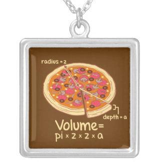 Pizza Volume Mathematical Formula = Pi*z*z*a Square Pendant Necklace