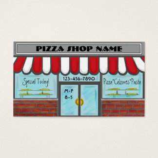 Pizza window shop customizable red white cards