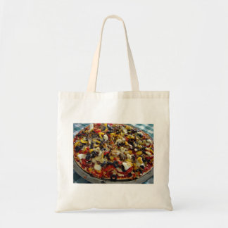 Pizza, with feta, olives, capsicum budget tote bag