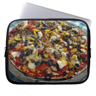 Pizza with feta olives capsicum laptop computer sleeve