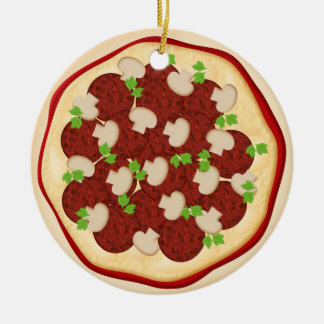 Pizza with pepperoni and mushrooms christmas tree ornaments