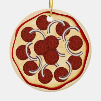 Pizza with pepperoni and onions christmas tree ornament