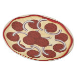 Pizza with pepperoni and onions plate