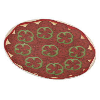 Pizza with pepperoni and peppers melamine plate