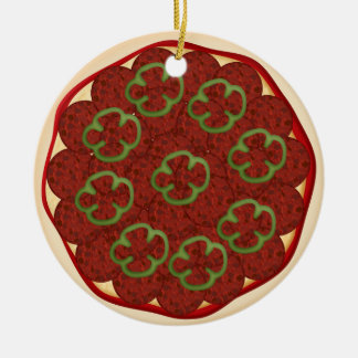 Pizza with pepperoni and peppers christmas tree ornaments