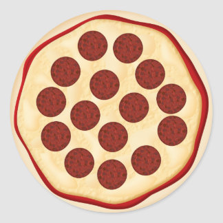 Pizza with pepperoni classic round sticker