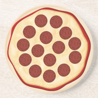 Pizza with pepperoni drink coaster