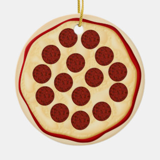 Pizza with pepperoni christmas ornament