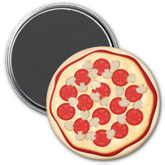 Pizza with tomatoes and mushrooms magnet