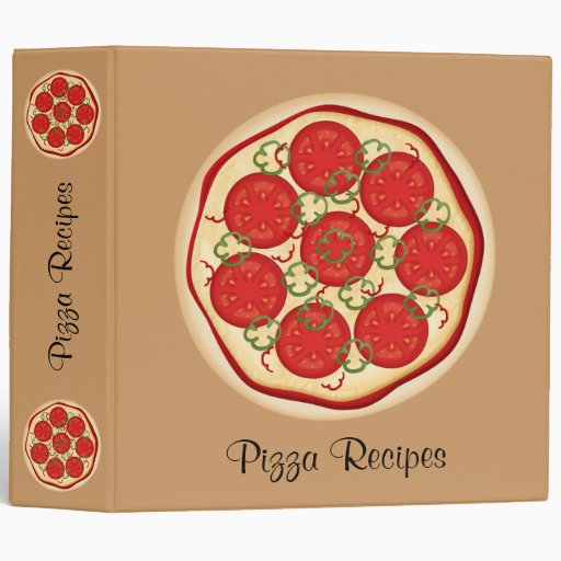 Pizza with tomatoes and peppers 3 ring binder
