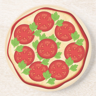 Pizza with tomatoes drink coaster